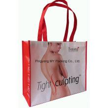 Promoción personalizada compras BOPP laminados no tejido bolsas de mano