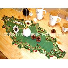 Chemin de table de couleur verte de Noël St1765