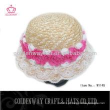 Chapéu de palha para crianças com flor