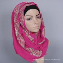 Belle impression de style musulman femmes chaudes arabe musulman perlé hijab écharpe