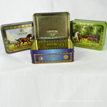 Rectangle de alta qualidade Metal Tea Tin Box com dobradiça, Tea Tin Box Fabricante