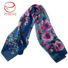 Bufanda larga garantizada del diseño floral de las lanas de seda