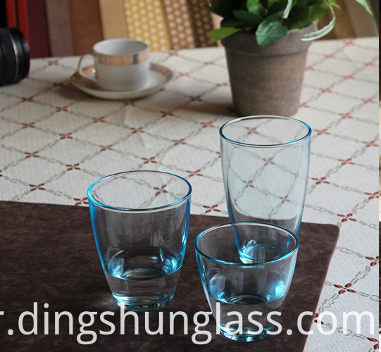 Transparent and colorful glass cups