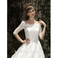 ZM16012 Weinlese eine Linie Hochzeits-Kleid mit kurzen Spitze-Hülsen Ehrfürchtige Brautkleid-Hochzeit 2016 Muslin-Hochzeits-Kleider