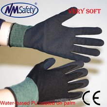 NMSAFETY black water-based PU hand gloves sandy pu foam work gloves