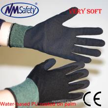 NMSAFETY черный на водной основе ПУ перчатки руки песчаного пены PU рабочие перчатки