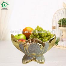 2015 oro pulverizado Decoración casera cesta de frutas de cerámica con soporte