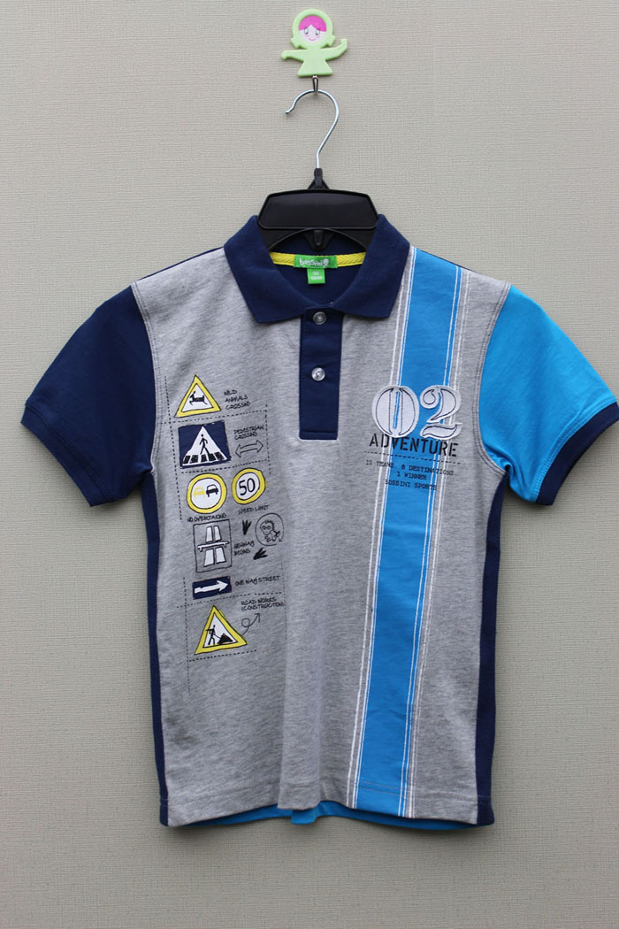 BOY'S 100% COTTON KNITTED PANEL POLO WITH PRINT