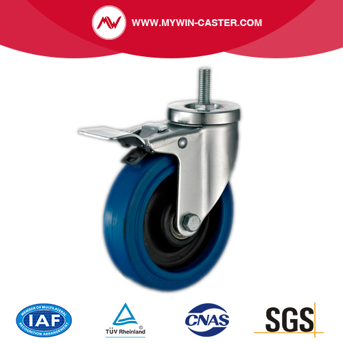 Braked Threaded Stem Swivel Blue Elastic Rubber Caster