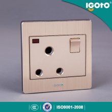 Igoto British Standard Brushed Aluminum 15A High Quality Wall Switch Socket with Factory Price