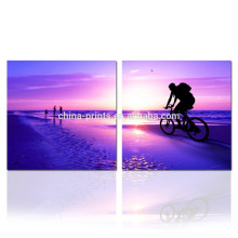 Seascape bonito que pinta 2 painéis / nascer do sol na arte da parede do mar / arte finala Home da decoração