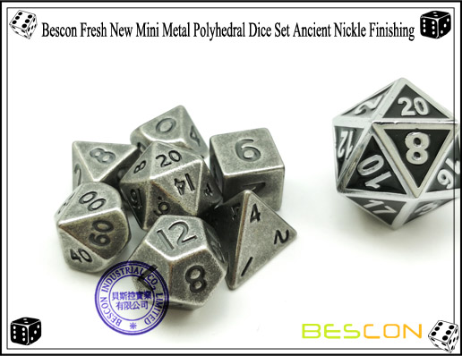 Bescon Fresh New Mini Metal Polyhedral Dice Set Ancient Nickle Finishing-7