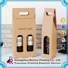 Boîte brillante colorée faite sur commande d'emballage de papier de vin bon marché de vente chaude avec la fenêtre