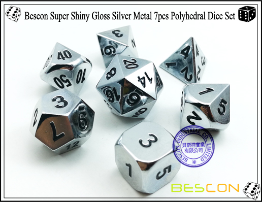 Bescon Super Shiny Gloss Silver Metal 7pcs Polyhedral Dice Set-2