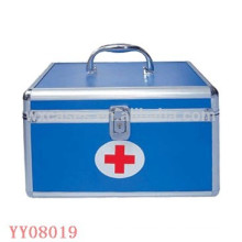 blue aluminum medical box with a tray inside from China