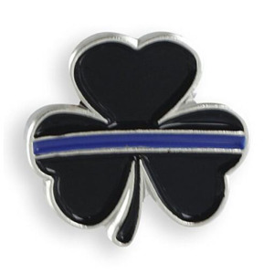 Uniquely Designed Thin Blue Line Shamrock Lapel Pin