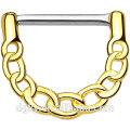 316L Surgical Aço sexo gay nipple piercing Shaft Gold IP sobre o corpo de latão ligada Chain Design Clicker Nipple Rings