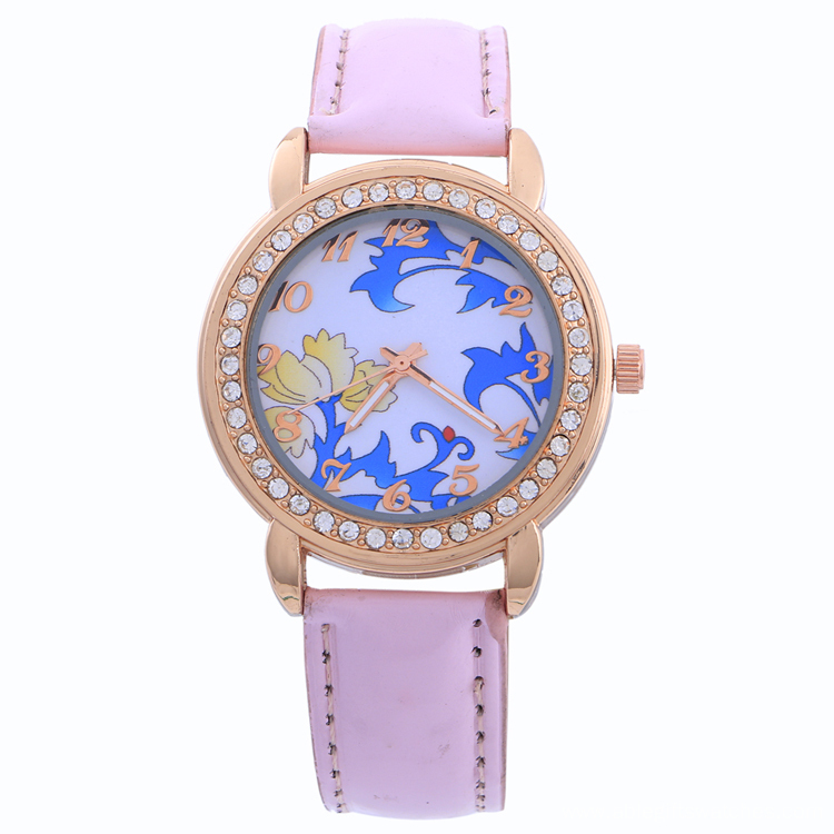 Flower Face Rhinestone Quartz Watch