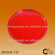 8 Inch Red round wholesale ceramic plates