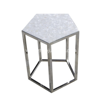 Factory Supplier for Elegant Mother of Pearl Furniture from Professional Artisan CANOSA Chinese Seashell  Tea Table with Stainless Steel Pentagon supply to Madagascar Suppliers