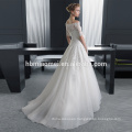 White color middle sleeve long design slim-line laced fashion big boobs wedding dress