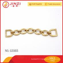 Accessoires de sac en métal de gros, chaîne en métal doré pour la décoration de sac à main