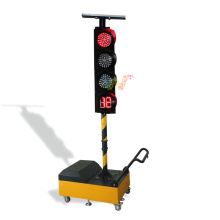 ремонт дороги с использованием подвижного временного светофора