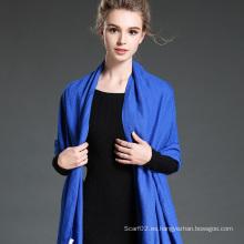 Las mujeres en invierno para mantener cálido azul liso bufanda de poliéster mantón