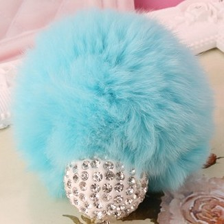 Rhinestone Ball Rabbit Fur Ball Keychain