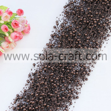 Top vendita caffè scuro colore simil finte perle perline wrap con 3 & 8 mm