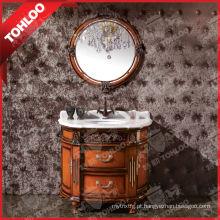 Armário de madeira da vaidade do banheiro da parte alta com o espelho de prata de 5mm