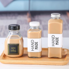 16oz French 250ml 300ml 350ml 500ml Square Juice Glass Bottles Packaging For Beverage