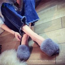 Oversized fur Cheap wholesale shoes women lady flat ladies shoes