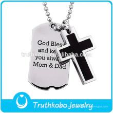 Moda pet jóias tag prata amuleto bíblia família jóias pingente jesus atacado oração cruz religiosa pingente de jóias