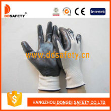 Weißes Nylon mit schwarzem Nitril-Handschuh-Dnn336
