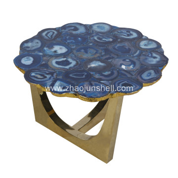 Leading Manufacturer for Semi-precious Stone Furniture, Semi-precious Stone Furniture direct from Jiujiang Tengjun Shell Arts and Crafts Company in China (Mainland) CANOSA Bule agate coverd coffee table with golden stainless steel export to Niger Supplier