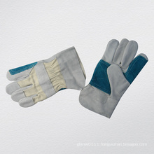 Cow Split Leather Double Palm Leather Cuff Work Glove-3064