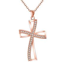 Europa Nuevo diseño de la personalidad de forma cruzada Zircon colgante collar de oro rosa