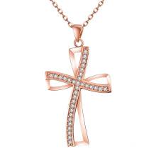 Europe Nouvelle personnalité de conception Crosswise Shape Zircon Pendant Rose Gold Necklace
