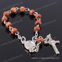 Дешевые религиозные ремесла Малый Nalien Вуд бисер католический браслет