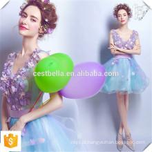 Custom Made Evening Dinner Dress Vestido de dama de honra Curto Light Blue Satin Elegant Dress Latest Design Prom Dress