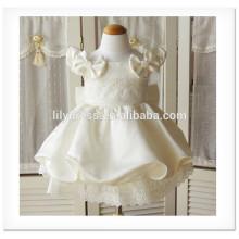 Ivory Fancy Flower Girl A-Line Vestido com festança sem mangas Vestido personalizado Vestido para casamento FG013 Vestido de 3 anos de idade