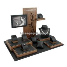 Schmuck Einzelhandel Shop Counter Top Holz Leder Luxus Halskette und Ring Werbung Display Möbel
