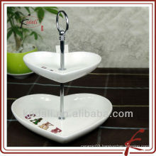 2 tier ceramic cake stand heart shape