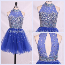 Bling Halter Royal Blue perlé court Tulle Cocktail Party Homecoming Robe de bal