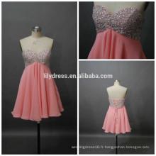 Filles Sweetheart Necklline Custom Made Short Mini Designs Vêtements de soirée ED084 Robes courtes en mousseline de soie