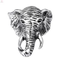 Vintage Men Custom Jewelry Personality Acero inoxidable Animal Head Elephant Ring