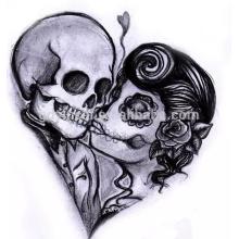 Diseños tribales personalizados del tatuaje de la transferencia del agua del cráneo para el tatuaje no-taxic de la etiqueta engomada del tatuaje de la etiqueta engomada de Halloween