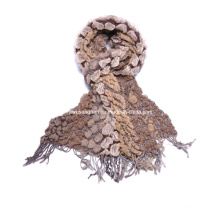 Moda de la señora de color marrón Chunky Invierno cálida bufanda Burbuja bufanda