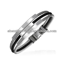 Wholesale Men's Stainless Steel Wire & Black Rubber Contemporary Bangle China Supplier